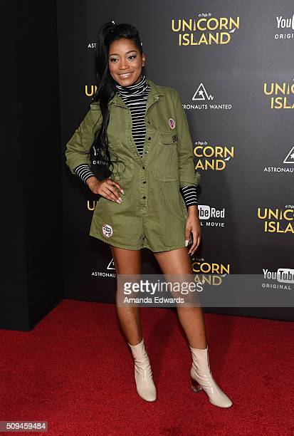 Actress Keke Palmer arrives at the premiere of 'A Trip To Unicorn Island' at TCL Chinese Theatre on February 10 2016 in Hollywood California
