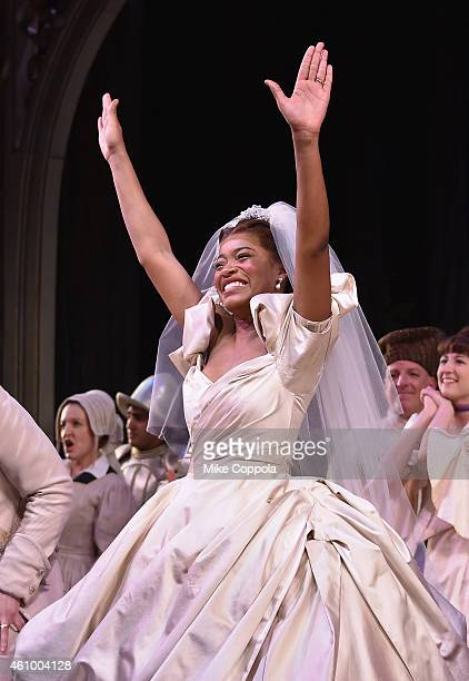 Actress Keke Palmer takes a curtain call during the final performance of Broadways 'Rodgers Hammerstein's Cinderella' at Broadway Theatre on January...