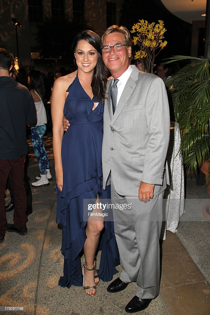 Actress Kelen Coleman (L) and Creator/Exectuive Producer Aaron Sorkin attends the after party for HBO's 'The Newsroom' season 2 premiere at Paramount Studios on July 10, 2013 in Hollywood, California.