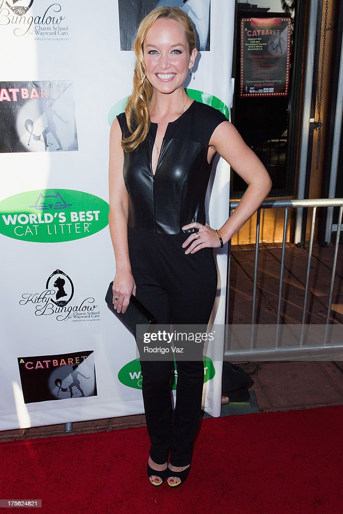 Actress <a gi-track='captionPersonalityLinkClicked' href=/galleries/search?phrase=Kelley+Jakle&family=editorial&specificpeople=9461651 ng-click='$event.stopPropagation()'>Kelley Jakle</a> arrives at 'CATberet' - A Musical Review for local cat and kitten rescue center Kitty Bungalow Charm School For Wayward Cats at Belasco Theatre on August 4, 2013 in Los Angeles, California.