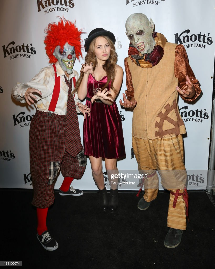Actress <a gi-track='captionPersonalityLinkClicked' href=/galleries/search?phrase=Kelli+Berglund&family=editorial&specificpeople=8564069 ng-click='$event.stopPropagation()'>Kelli Berglund</a> attends the VIP opening of Knott's Scary Farm HAUNT at Knott's Berry Farm on October 3, 2013 in Buena Park, California.