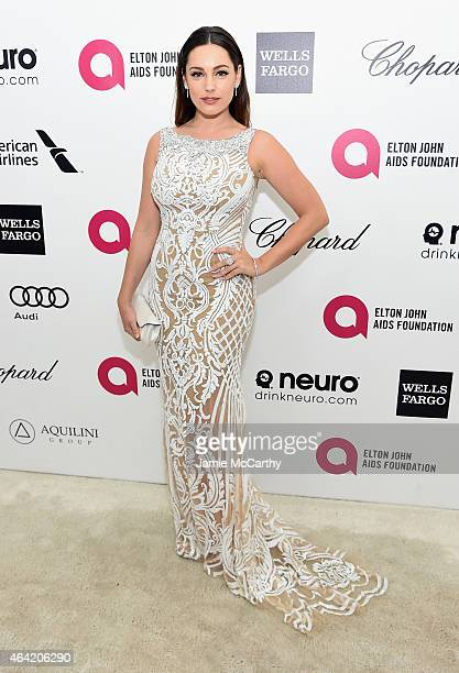 Actress Kelly Brook attends the 23rd Annual Elton John AIDS Foundation Academy Awards Viewing Party on February 22 2015 in Los Angeles California