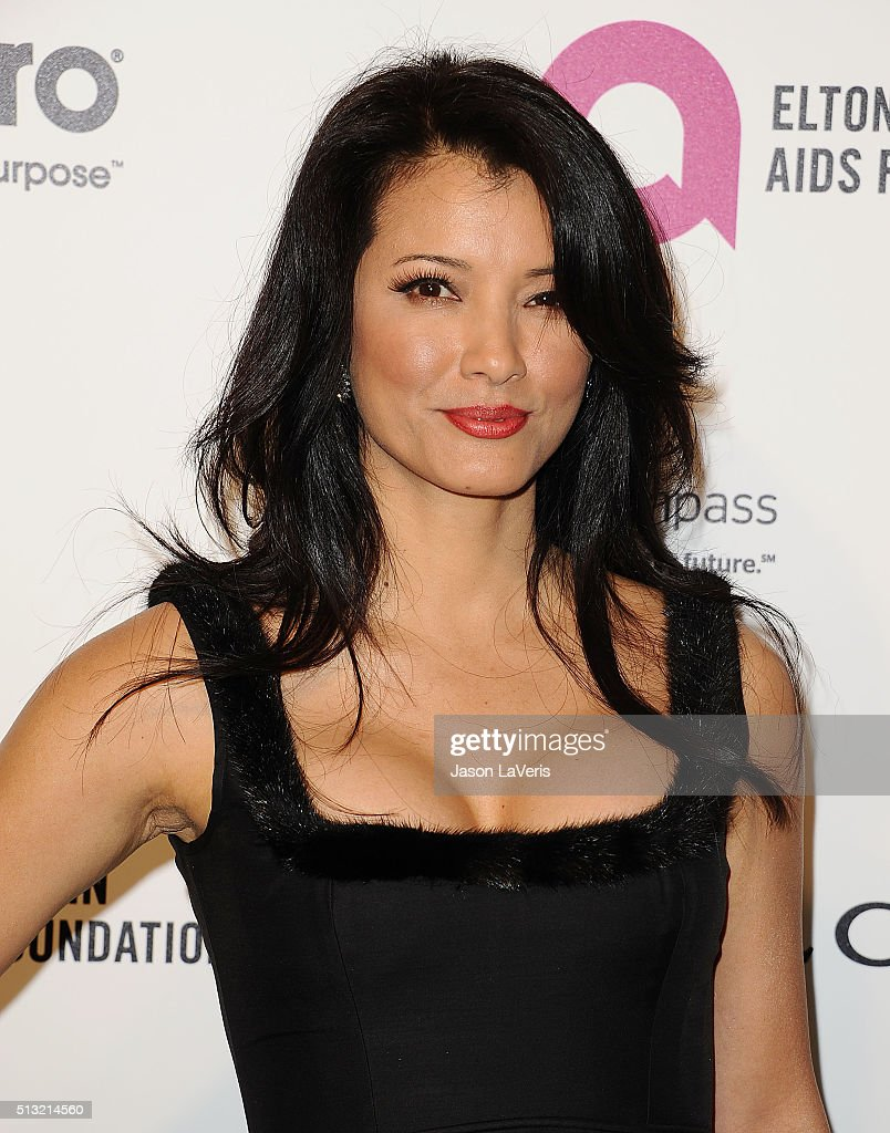 Actress Kelly Hu attends the 24th annual Elton John AIDS Foundation's Oscar viewing party on February 28 2016 in West Hollywood California