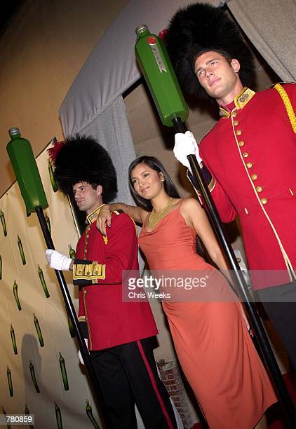 Actress Kelly Hu poses for photographers while arriving at Tanqueray's launch party for their new 'Gin No 10' October 19 2000 at the Buffalo Club in...