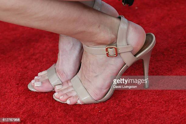 Actress Kelly Landry shoe detail arrives at the 2016 Streamy Awards at The Beverly Hilton Hotel on October 4 2016 in Beverly Hills California
