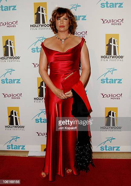 Actress Kelly LeBrock arrives at the Hollywood Film Festival's Hollywood Awards at the Beverly Hilton Hotel on October 22 2007 in Beverly Hills...