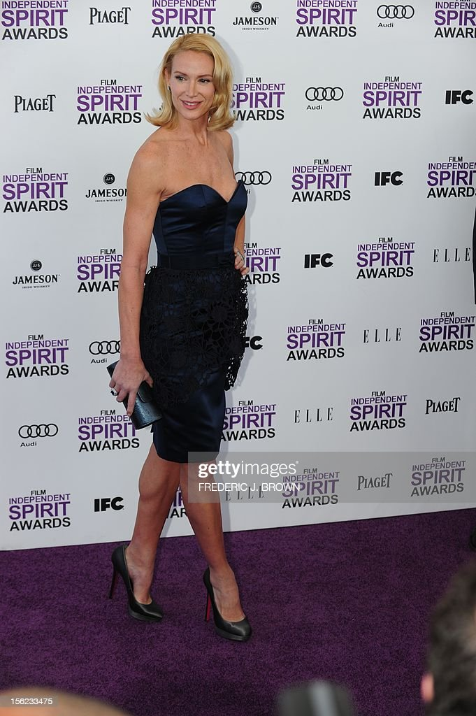 Actress Kelly Lynch arrives on the red carpet on February 25, 2012 for the Independent Spirit Awards in Santa Monica, California.