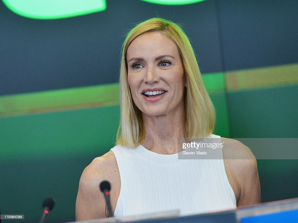Actress Kelly Lynch visits NASDAQ MarketSite on June 12, 2013 in New York City.