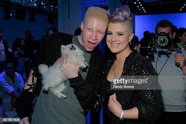 Actress Kelly Osbourne and Model Shaun Ross attend Idan Cohen Runway Spring 2016 New York Fashion Week The Shows at The Gallery Skylight at Clarkson...