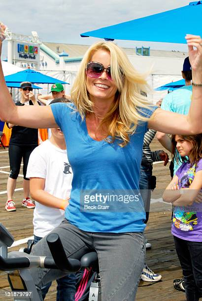 Actress Kelly Packard rides at The 100 Mile Man And The Harold Robinson Foundation's 'Pedal On The Pier' Fundraiser at Santa Monica Pier on June 5...