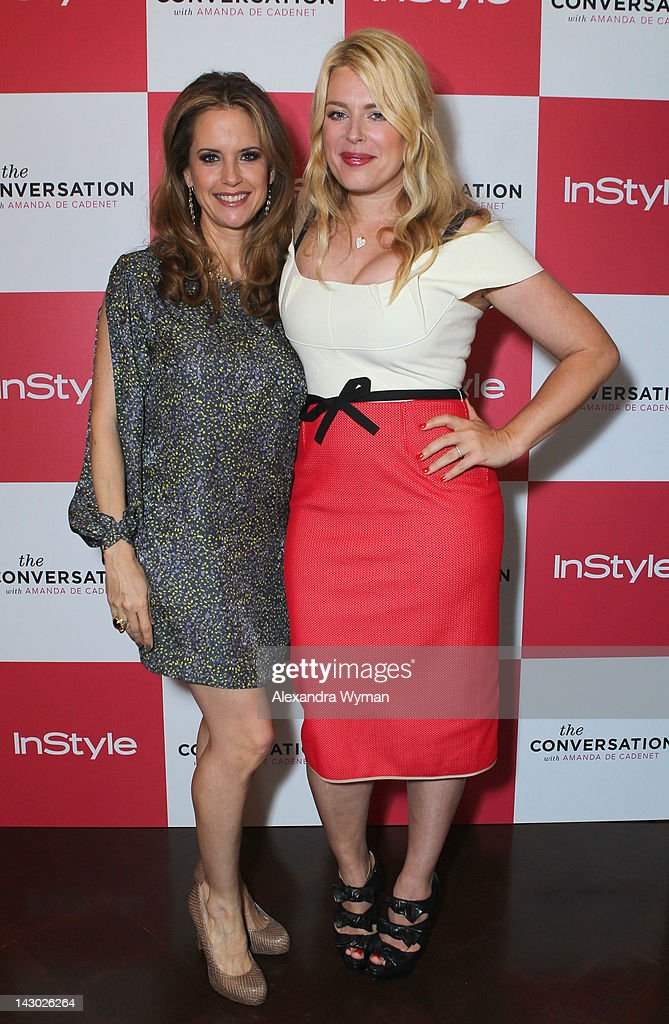 Actress Kelly Preston and host/photographer Amanda de Cadenet arrive at InStyle's celebration and the launch of 'The Conversation with Amanda De...