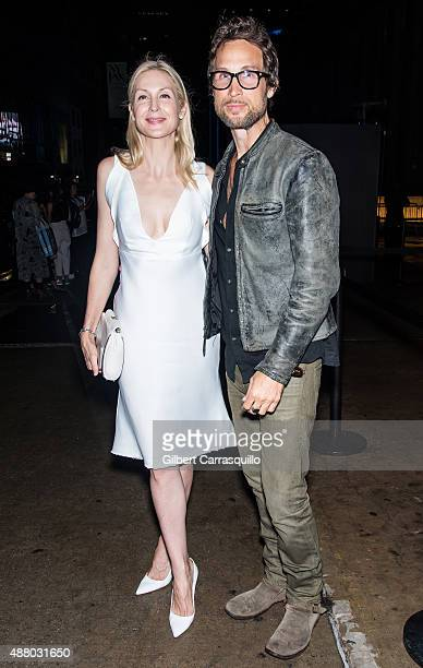 Actress Kelly Rutherford and her brother Anthony Rutherford are seen arriving at Son Jung Wan Spring 2016 during New York Fashion Week on September...