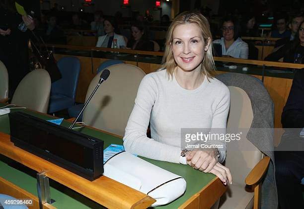 Actress Kelly Rutherford attends the UNICEF launch of the #IMAGINE Project to celebrate the 25th Anniversary of the rights of a child at United...