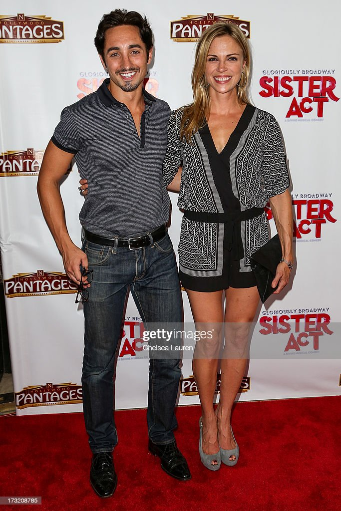 Actress Kelly Sullivan (R) arrives at the 'Sister Act' opening night premiere at the Pantages Theatre on July 9, 2013 in Hollywood, California.