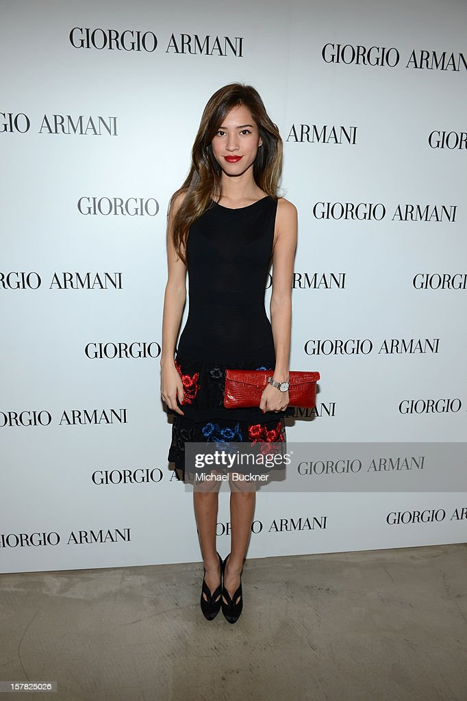 Actress Kelsey Chow, wearing Emporio Armani attends the Giorgio Armani Beauty Luncheon on December 6, 2012 in Beverly Hills, California.