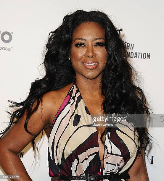 Actress Kenya Moore attends the 24th annual Elton John AIDS Foundation's Oscar viewing party on February 28 2016 in West Hollywood California