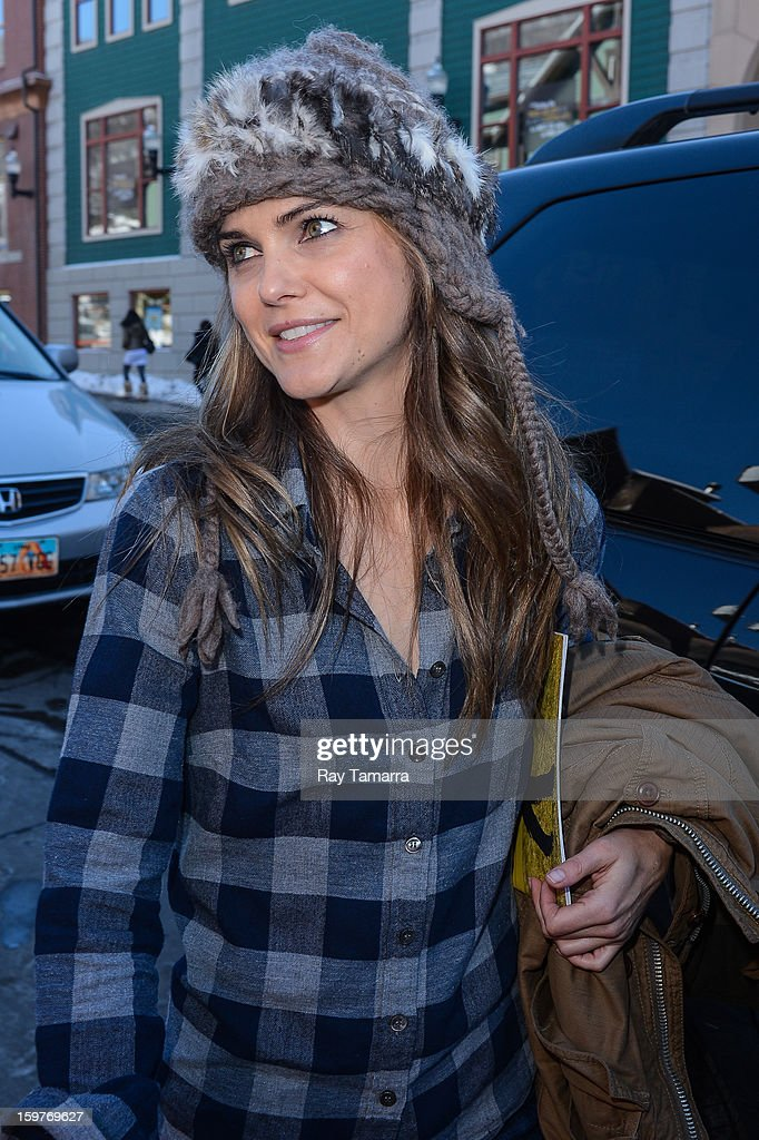 Actress Keri Russell leaves the Nikki Beach Lounge at the Sky Lodge on January 19, 2013 in Park City, Utah.