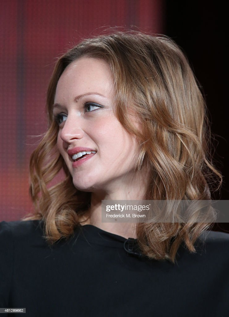 Actress Kerry Bishé speaks onstage during the 'Halt and Catch Fire ' panel at the AMC portion of the 2015 Winter Television Critics Association press tour at the Langham Hotel on January 10, 2015 in Pasadena, California.