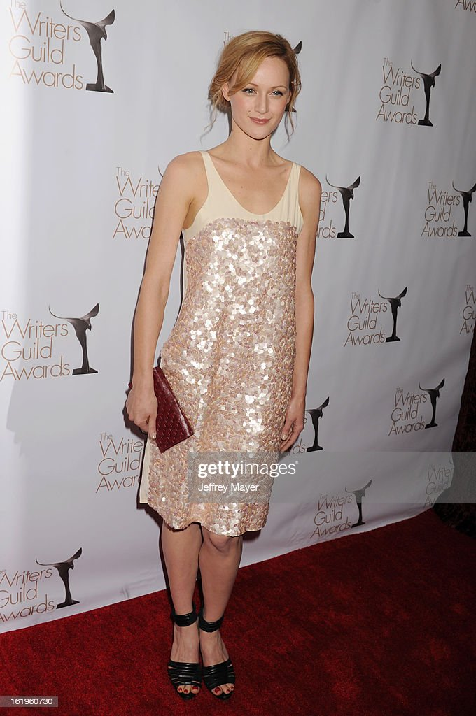 Actress Kerry Bishe arrives at the 2013 Writers Guild Awards at JW Marriott Los Angeles at L.A. LIVE on February 17, 2013 in Los Angeles, California.