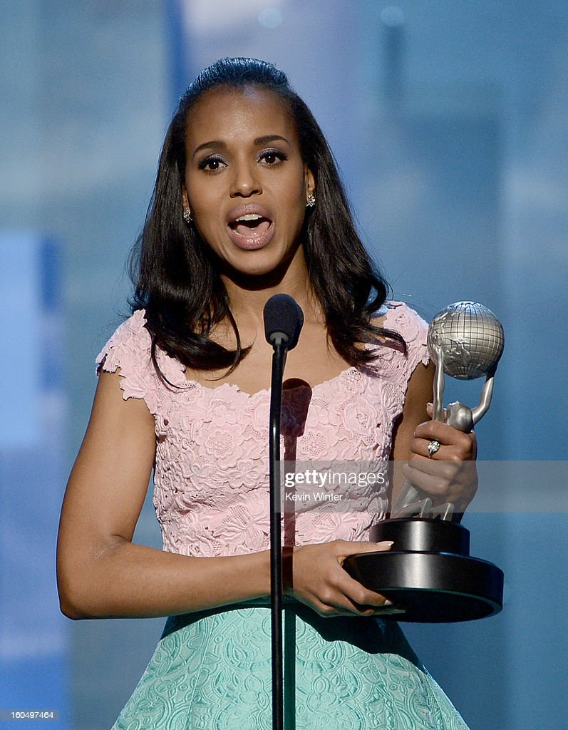 Actress Kerry Washington accepts Outstanding Actress in a Drama Series award for 'Scandal' onstage during the 44th NAACP Image Awards at The Shrine Auditorium on February 1, 2013 in Los Angeles, California.