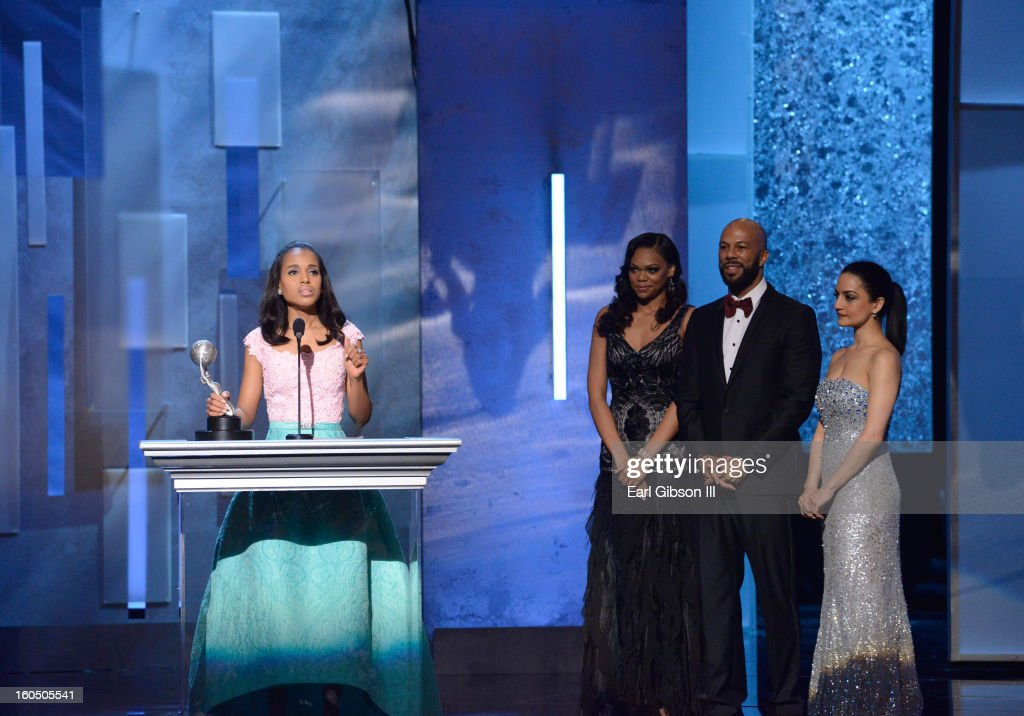 Actress Kerry Washington accepts Outstanding Supporting Actress in a Motion Picture award for 'Django Unchained' onstage during the 44th NAACP Image Awards at The Shrine Auditorium on February 1, 2013 in Los Angeles, California.
