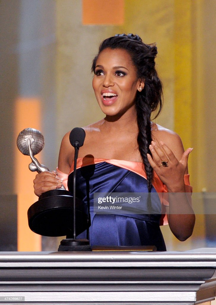 Actress Kerry Washington accepts the award for Outsanding Actress in a Drama Series for 'Scandal' onstage during the 45th NAACP Image Awards presented by TV One at Pasadena Civic Auditorium on February 22, 2014 in Pasadena, California.