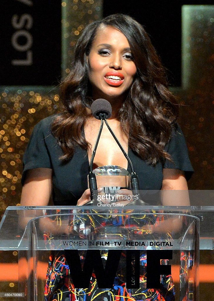 Actress <a gi-track='captionPersonalityLinkClicked' href=/galleries/search?phrase=Kerry+Washington&family=editorial&specificpeople=201534 ng-click='$event.stopPropagation()'>Kerry Washington</a> accepts the Lucy Award for Excellence in Television onstage at Women In Film 2014 Crystal + Lucy Awards presented by MaxMara, BMW, Perrier-Jouet and South Coast Plaza held at the Hyatt Regency Century Plaza on June 11, 2014 in Los Angeles, California.