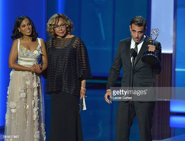 Actress Kerry Washington actress Diahann Carroll and actor Bobby Cannavale appear onstage during the 65th Annual Primetime Emmy Awards held at Nokia...