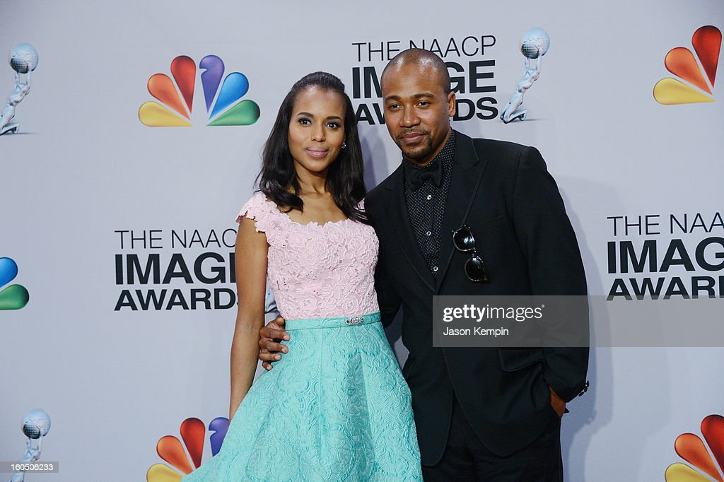 Actress Kerry Washington (L) and actor Columbus Short pose in the press room during the 44th NAACP Image Awards at The Shrine Auditorium on February 1, 2013 in Los Angeles, California.