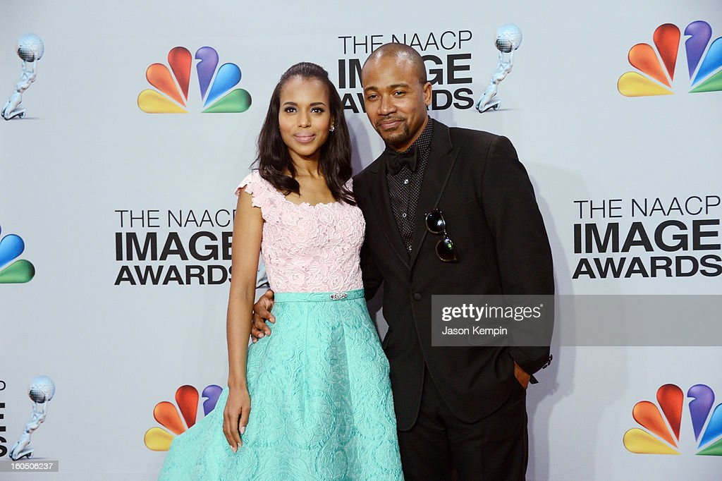 Actress Kerry Washington and actor Columbus Short pose in the press room during the 44th NAACP Image Awards at The Shrine Auditorium on February 1...