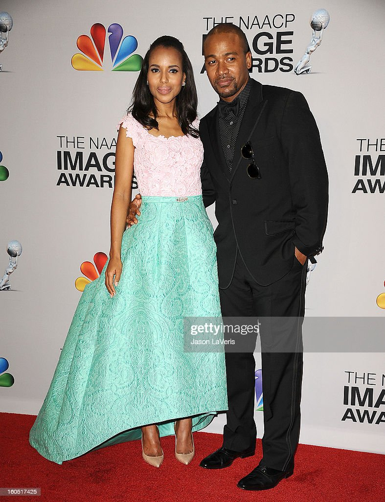 Actress Kerry Washington and actor Columbus Short pose in the press room at the 44th NAACP Image Awards at The Shrine Auditorium on February 1, 2013 in Los Angeles, California.
