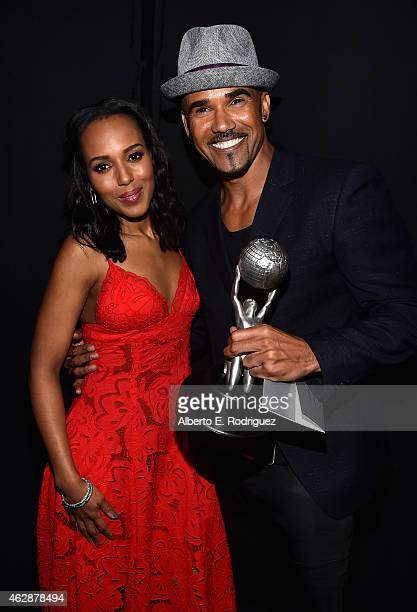 Actress Kerry Washington and actor Shemar Moore winner of the award for Outstanding Actor in a Drama Series for 'Criminal Minds' attend the 46th...