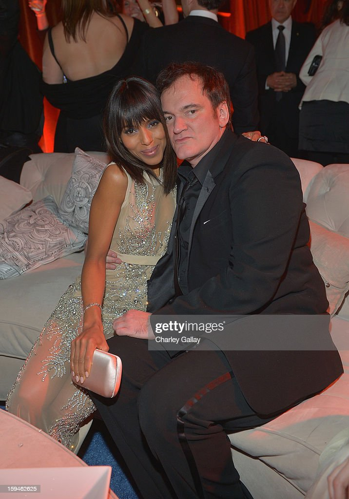Actress <a gi-track='captionPersonalityLinkClicked' href=/galleries/search?phrase=Kerry+Washington&family=editorial&specificpeople=201534 ng-click='$event.stopPropagation()'>Kerry Washington</a> and Director <a gi-track='captionPersonalityLinkClicked' href=/galleries/search?phrase=Quentin+Tarantino&family=editorial&specificpeople=171796 ng-click='$event.stopPropagation()'>Quentin Tarantino</a> attend The Weinstein Company's 2013 Golden Globe Awards After Party presented by Chopard held at The Old Trader Vic's at The Beverly Hilton Hotel on January 13, 2013 in Beverly Hills, California.
