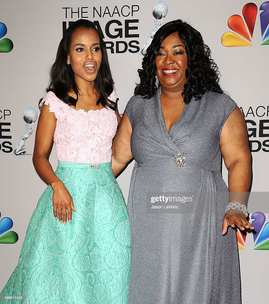 Actress Kerry Washington and producer Shonda Rhimes pose in the press room at the 44th NAACP Image Awards at The Shrine Auditorium on February 1, 2013 in Los Angeles, California.