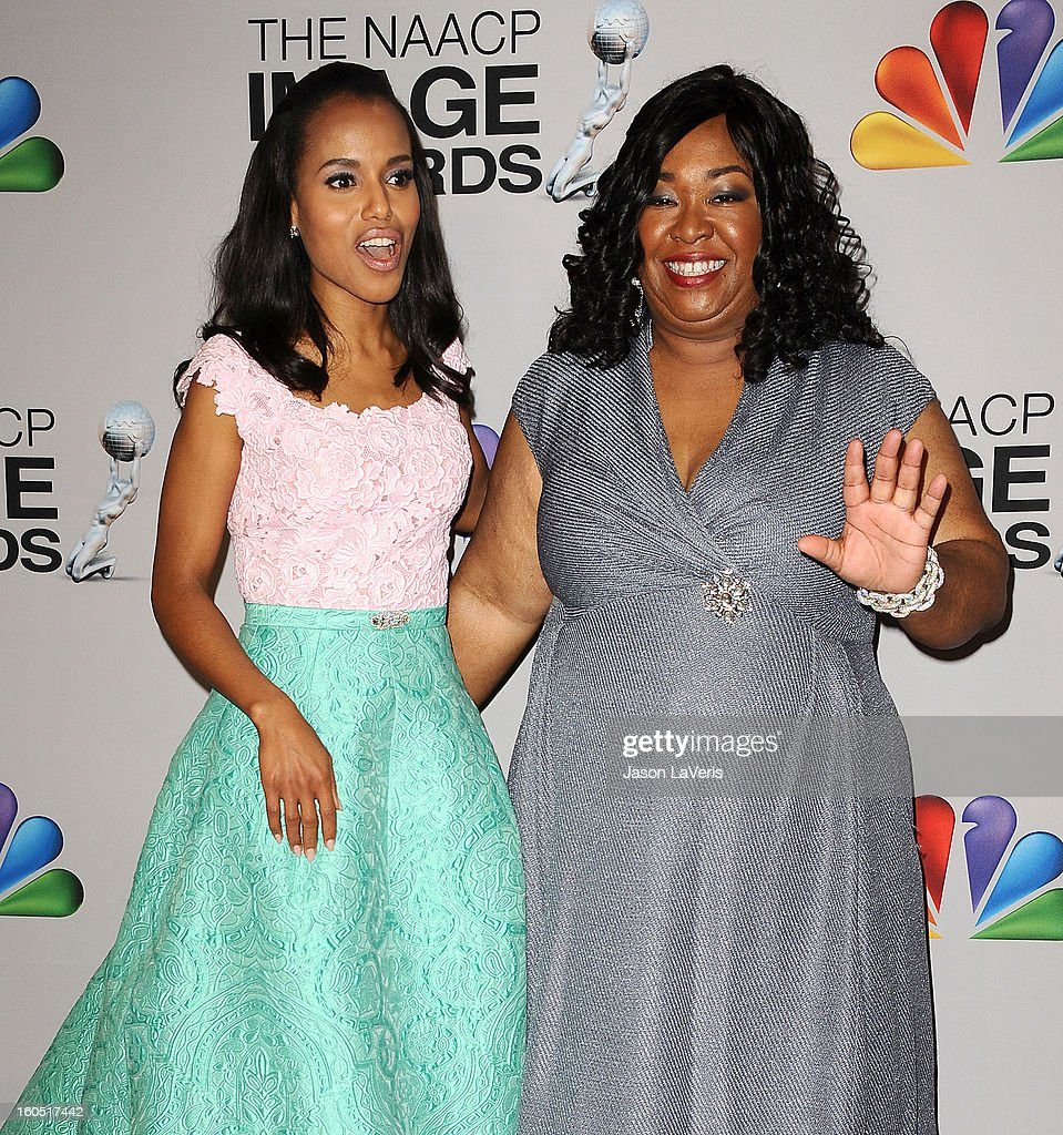 Actress <a gi-track='captionPersonalityLinkClicked' href=/galleries/search?phrase=Kerry+Washington&family=editorial&specificpeople=201534 ng-click='$event.stopPropagation()'>Kerry Washington</a> and producer <a gi-track='captionPersonalityLinkClicked' href=/galleries/search?phrase=Shonda+Rhimes&family=editorial&specificpeople=572007 ng-click='$event.stopPropagation()'>Shonda Rhimes</a> pose in the press room at the 44th NAACP Image Awards at The Shrine Auditorium on February 1, 2013 in Los Angeles, California.
