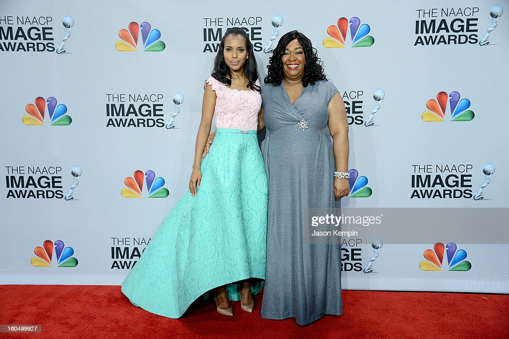 Actress Kerry Washington (L) and producer Shonda Rimes pose in the press room during the 44th NAACP Image Awards at The Shrine Auditorium on February 1, 2013 in Los Angeles, California.