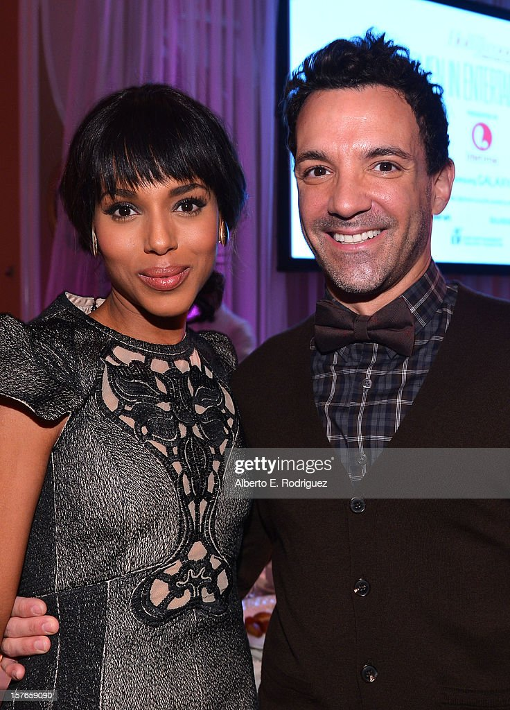 Actress <a gi-track='captionPersonalityLinkClicked' href=/galleries/search?phrase=Kerry+Washington&family=editorial&specificpeople=201534 ng-click='$event.stopPropagation()'>Kerry Washington</a> and stylist <a gi-track='captionPersonalityLinkClicked' href=/galleries/search?phrase=George+Kotsiopoulos&family=editorial&specificpeople=2530004 ng-click='$event.stopPropagation()'>George Kotsiopoulos</a> attend The Hollywood Reporter's 'Power 100: Women In Entertainment' Breakfast at the Beverly Hills Hotel on December 5, 2012 in Beverly Hills, California.