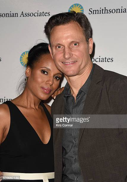 Actress Kerry Washington and Tony Goldwyn pose on the red carpet during the 'Scandalous' event hosted by the Smithsonian Associates with Shonda...