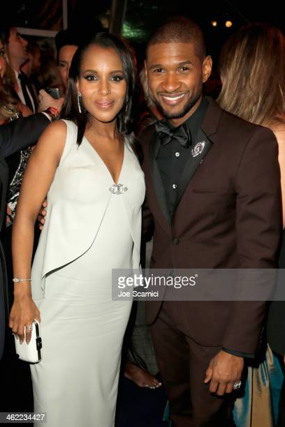 Actress Kerry Washington and Usher attend The Weinstein Company Netflix's 2014 Golden Globes After Party presented by Bombardier FIJI Water Lexus...