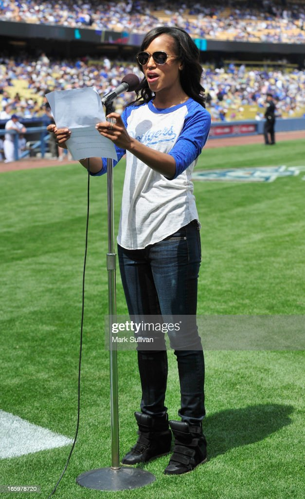 Actress <a gi-track='captionPersonalityLinkClicked' href=/galleries/search?phrase=Kerry+Washington&family=editorial&specificpeople=201534 ng-click='$event.stopPropagation()'>Kerry Washington</a> announces the Los Angeles Dodger starting line-up at Dodger Stadium on April 7, 2013 in Los Angeles, California.