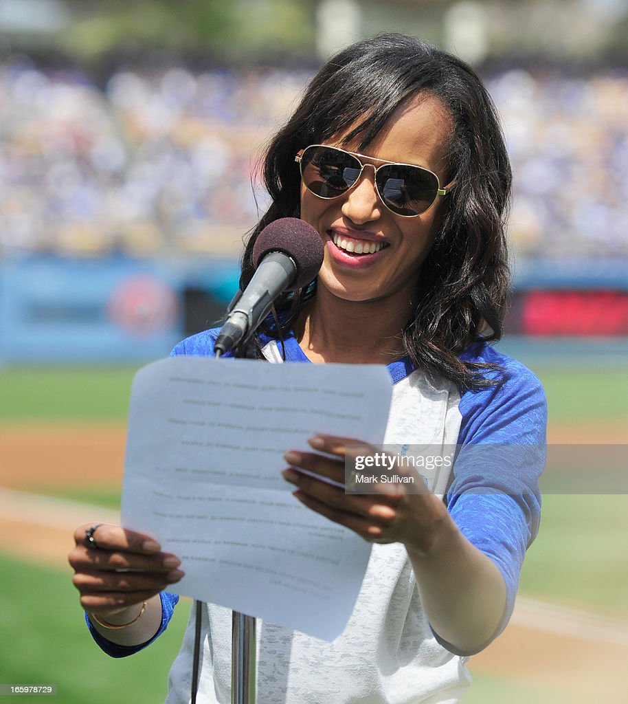 Actress Kerry Washington announces the Los Angeles Dodger starting line-up at Dodger Stadium on April 7, 2013 in Los Angeles, California.