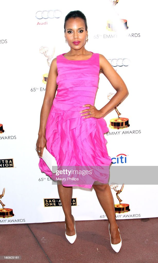 Actress <a gi-track='captionPersonalityLinkClicked' href=/galleries/search?phrase=Kerry+Washington&family=editorial&specificpeople=201534 ng-click='$event.stopPropagation()'>Kerry Washington</a> arrives at Dynamic & Diverse - A 65th Emmy Awards Nominee celebration at Academy of Television Arts & Sciences on September 17, 2013 in North Hollywood, California.