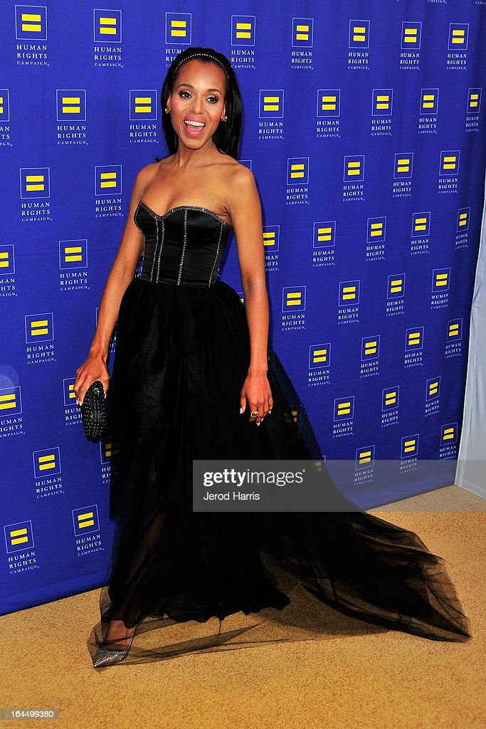 Actress <a gi-track='captionPersonalityLinkClicked' href=/galleries/search?phrase=Kerry+Washington&family=editorial&specificpeople=201534 ng-click='$event.stopPropagation()'>Kerry Washington</a> arrives at Human Rights Campaign dinner gala at the JW Marriott at L.A. LIVE on March 23, 2013 in Los Angeles, California.