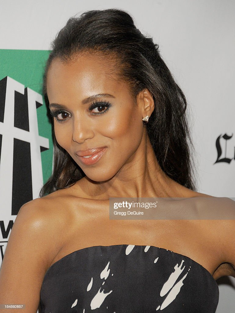 Actress <a gi-track='captionPersonalityLinkClicked' href=/galleries/search?phrase=Kerry+Washington&family=editorial&specificpeople=201534 ng-click='$event.stopPropagation()'>Kerry Washington</a> arrives at the 16th Annual Hollywood Film Awards Gala presented by the Los Angeles Times at The Beverly Hilton Hotel on October 22, 2012 in Beverly Hills, California.