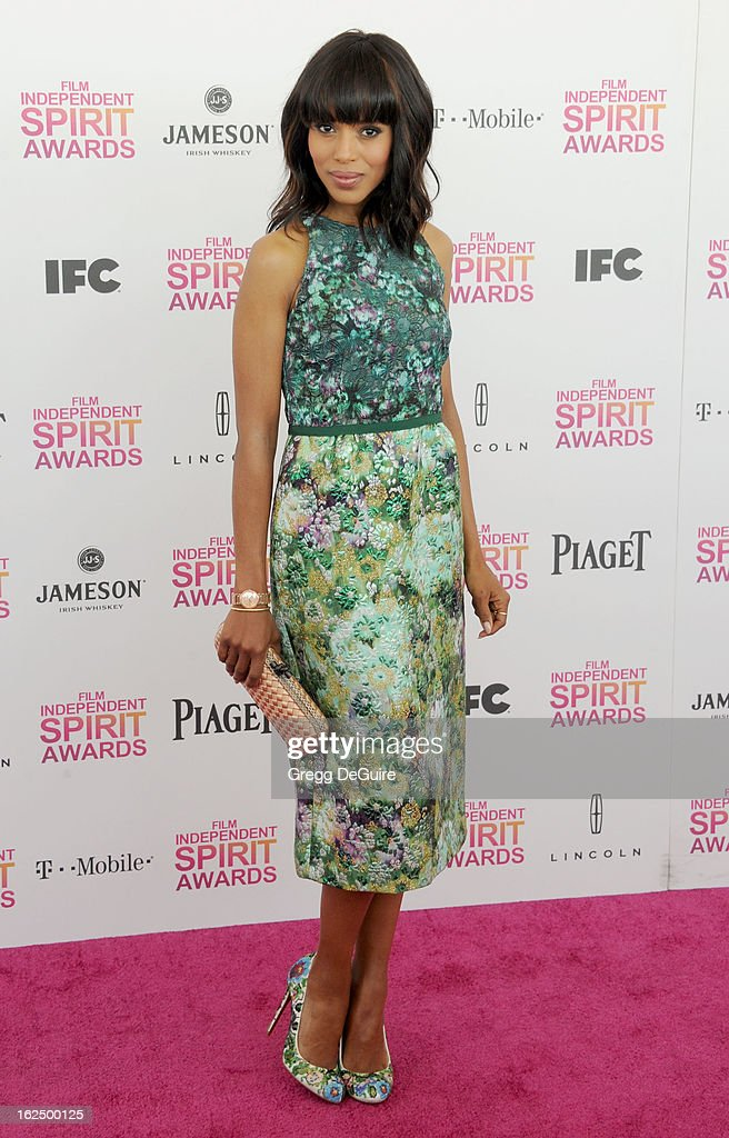 Actress Kerry Washington arrives at the 2013 Film Independent Spirit Awards at Santa Monica Beach on February 23, 2013 in Santa Monica, California.