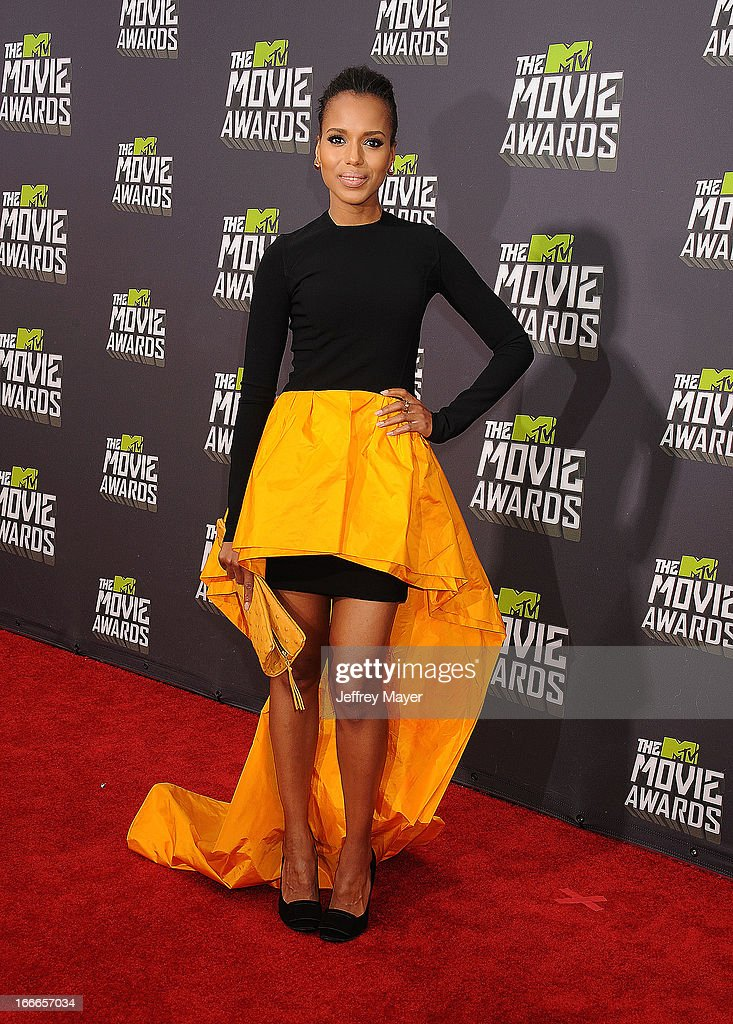 Actress Kerry Washington arrives at the 2013 MTV Movie Awards at Sony Pictures Studios on April 14, 2013 in Culver City, California.