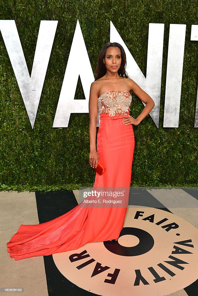 Actress Kerry Washington arrives at the 2013 Vanity Fair Oscar Party hosted by Graydon Carter at Sunset Tower on February 24, 2013 in West Hollywood, California.