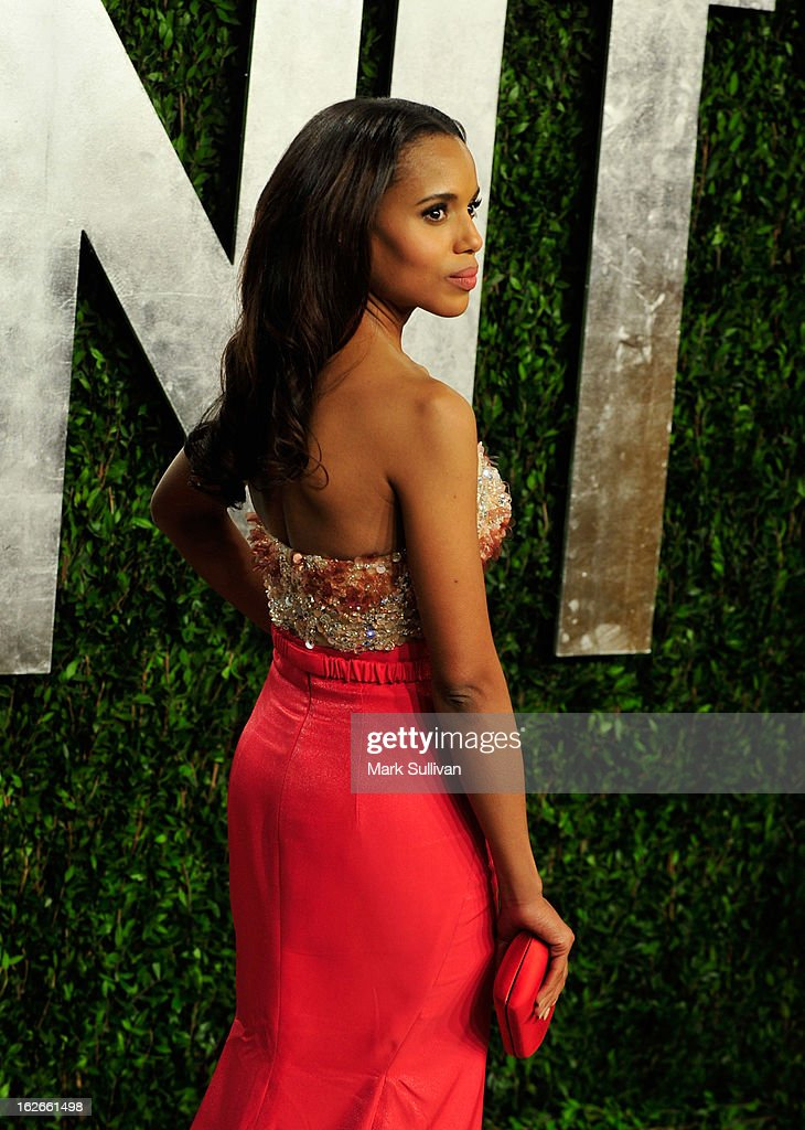 Actress Kerry Washington arrives at the 2013 Vanity Fair Oscar Party at Sunset Tower on February 24, 2013 in West Hollywood, California.