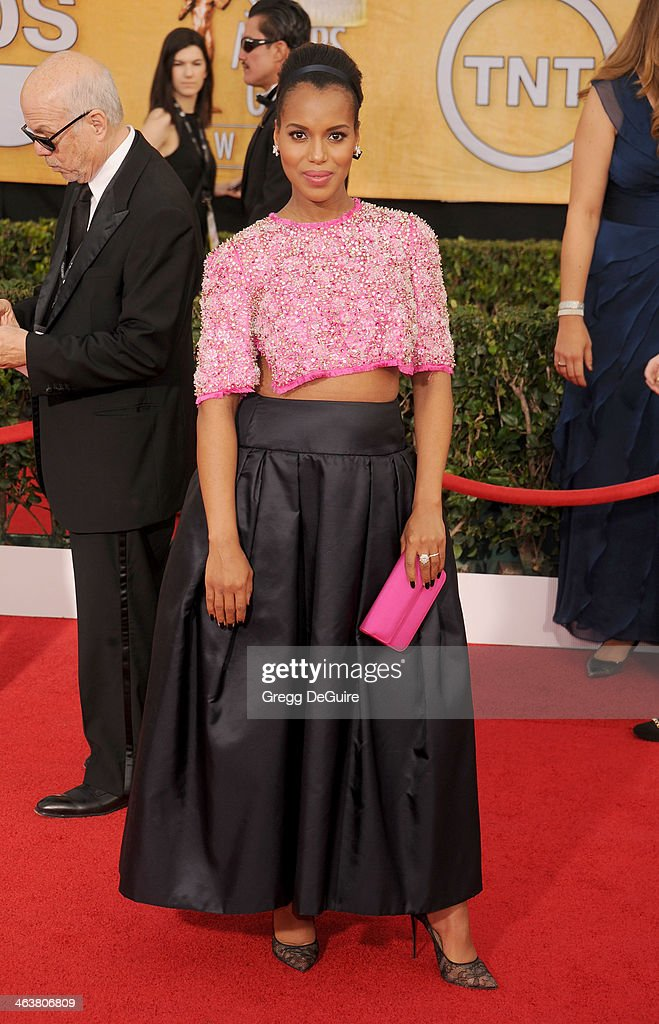 Actress Kerry Washington arrives at the 20th Annual Screen Actors Guild Awards at The Shrine Auditorium on January 18 2014 in Los Angeles California