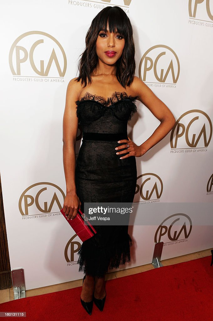 Actress <a gi-track='captionPersonalityLinkClicked' href=/galleries/search?phrase=Kerry+Washington&family=editorial&specificpeople=201534 ng-click='$event.stopPropagation()'>Kerry Washington</a> arrives at the 24th Annual Producers Guild Awards held at The Beverly Hilton Hotel on January 26, 2013 in Beverly Hills, California.